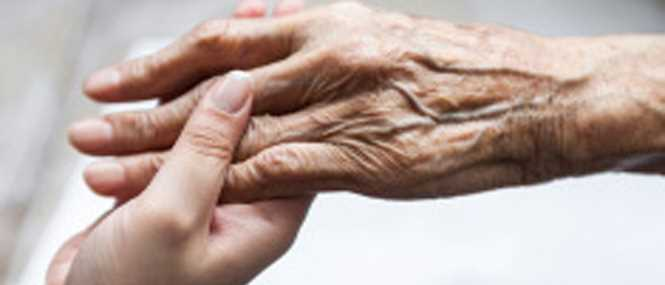 Loving hands giving senior care